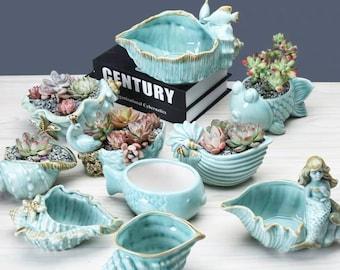 Seashell Succulent Plant Pot Aqua Blue Conch Ceramic Planter Home Garden Decor