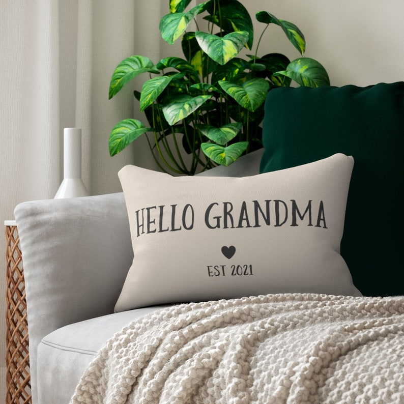 Hello Grandma Personalized New Grandparents Baby Announcement Throw Pillow 2021 Pregnancy Reveal Pillow Gift
