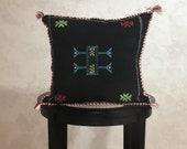 Moroccan Black Sabra Pillow Cover, Embroidered Silk Cushion, Berber Pillow Case, Decorative Tassel Throw Pillows - Moroccan Interior