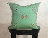 Moroccan Green Sabra Pillow Cover, Embroidered Silk Cushion, Berber Pillow Case, Decorative Tassel Throw Pillows - Moroccan Interior