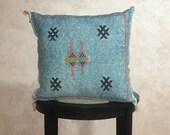 Moroccan Sky Blue Sabra Pillow Cover, Embroidered Silk Cushion, Berber Pillow Case, Decorative Tassel Throw Pillows - Moroccan Interior