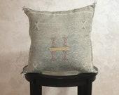 Moroccan Soft Gray Sabra Pillow Cover, Embroidered Silk Cushion, Berber Pillow Case, Decorative Tassel Throw Pillows - Moroccan Interior
