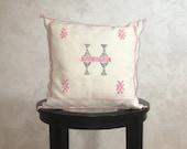 Moroccan Soft White Sabra Pillow Cover, Embroidered Silk Cushion, Berber Pillow Case, Decorative Tassel Throw Pillows - Moroccan Interior