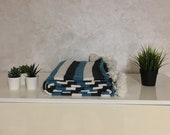 Moroccan Pompom Blanket Bed Throw, Blackand Blue Stripes 7 39 8 x 11 39 8