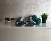 Moroccan Pompom Blanket Bed Throw, Green, Gray, Blue Stripes 7 39 8 x 11 39 8
