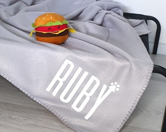 Personalised Pet Blanket | Grey | Polar Fleece | Gift Accessories | Dog | Puppy | Cat