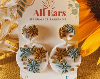 "Polymer Clay ""DRIED FLOWERS"" Design Dangle Earrings"
