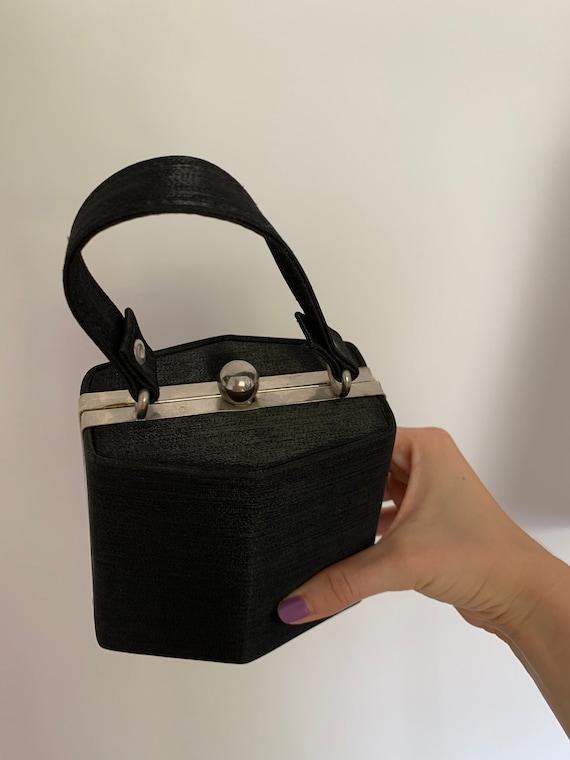 1950s silk bag vintage box bag black silk bag vin… - image 2