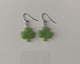 polymer clay for woman or girl handmade Shamrocks green blue earrings black silver