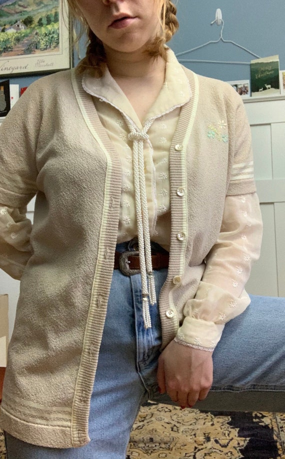 1960s vintage terrycloth sweater hand embroidered