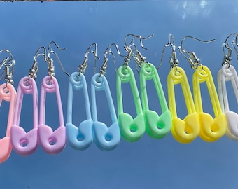 Large Pastel Safety Pin Earrings Handmade Earrings Dangle Earrings Weird Earrings Cute Earrings