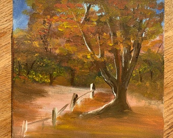 Autumn Forest PaintingMini Oil Painting on Canvas Originalvalentines day gifts for herGifts for himsmall painting giftsCanvas Wall Art