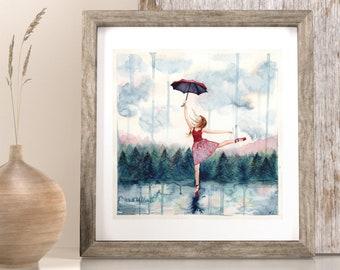 "6x6"" print of girl Dancing in the Rain Fine Art Print, Dancer artwork, Girls Room Decor, Ballerina watercolor, Dance. watercolor dancer"