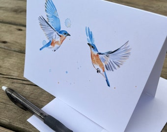 Set of 5, 10, or 20 watercolor bluebird blank greeting card set | Bluebird card stationery | All occasion greeting cards | watercolor birds