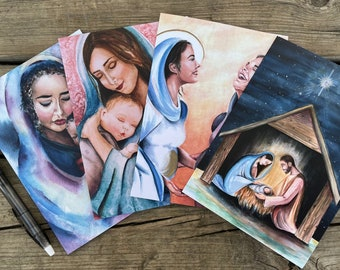 Bulk set of 5, 10, or 20 assorted religious inspired cards, blank cards, Holy Family cards, Nativity Christmas cards, Catholic stationery