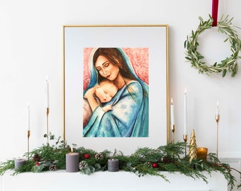 """8x10"""" Mary and Jesus Print, Blessed Mother art, Catholic art prints, Catholic art nursery print, Catholic artist, Catholic gift ideas"""
