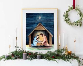 Nativity scene, Fine Art Holy Family print, Unique Religious Home Decor, Original Watercolor art, Catholic Christmas artwork, Advent artwork