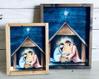 Framed Nativity fine art print | farmhouse style home decor | Christmas decor | Catholic art | Religious framed artwork | Holy family gift