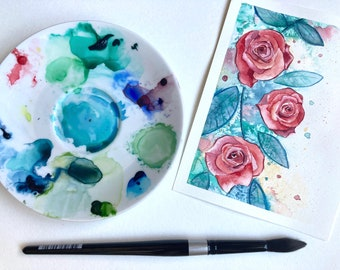 "5x7"" print of watercolor Roses | Fine Art Print | Beautiful floral design | Painting of pretty roses | housewarming gift ideas | gardener"
