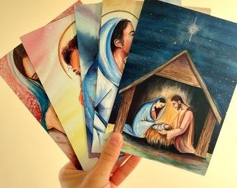 Bulk set of 5, 10, or 20 assorted religious inspired cards, blank cards, Holy Family cards and stationery, Catholic art, Catholic stationery