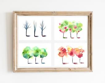"Set of (4) 5x7"" Watercolor Tree fine art prints | Seasonal print set of four | seasonal watercolor decor | watercolor trees nursery gifts"