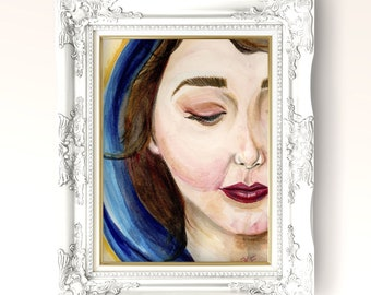 Beautiful Face of Our Lady Fine Art Print | Original Religious Art | Blessed Mother Mary | Marian Watercolor Art Gift | Catholic Home Decor