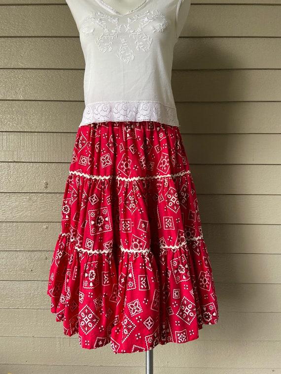 1950's Aldens Fashions red bandana western skirt
