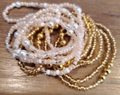 LUXURIOUS Slimming Elastic Waist beads- waistbeads Elastic Weight Loss African Waist Beads Beads-cheap waistbeads- cream and gold