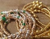 Earthly Goddess Slimming Elastic Waist beads- waistbeads Elastic Weight Loss African Waist Beads-cheap waistbeads- Gold delight