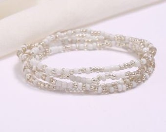 Clear and White Slimming Elastic Waist beads- WAIST TRAINER- Elastic Weight Loss African Waist Beads  - Belly Chain Beads
