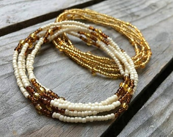TWO PIECE , Pearl White, Brown, Gold Set Slimming Elastic Waist beads- waist- Elastic Weight Loss African Waist Beads  - Belly Chain Beads
