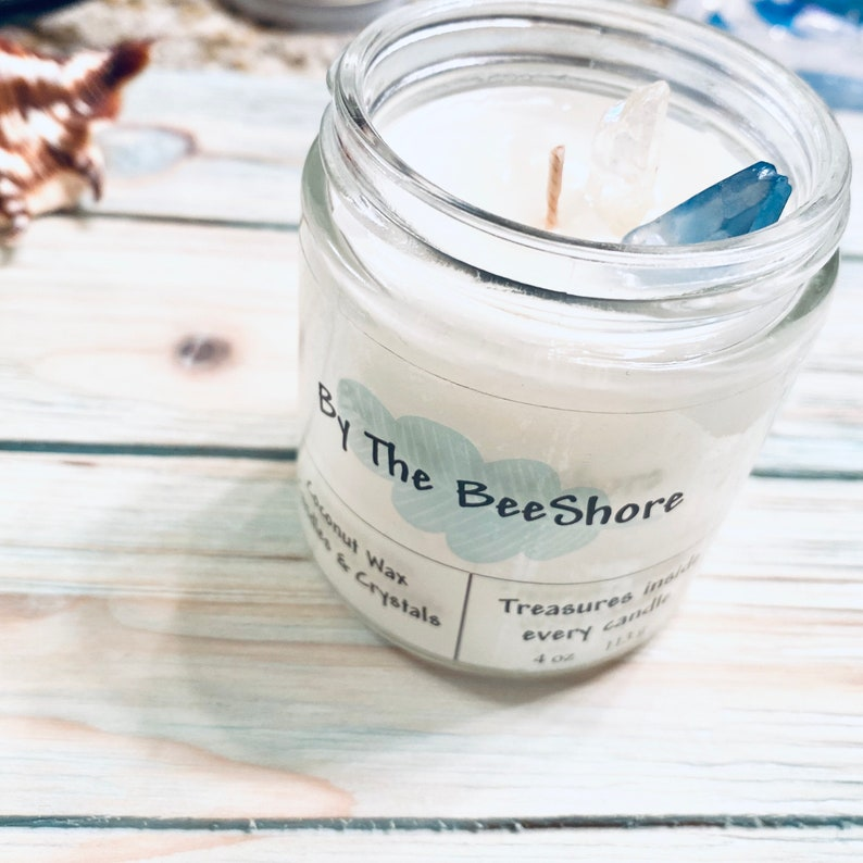 Treasures In Every Candle Coconut Candle And Crystals Scented Candle Salty Summers Money 8 oz Jar By The B Shore