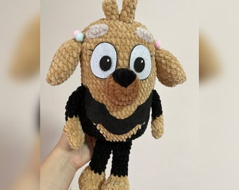 Stuffed animal dog Missy bluey, crochet toy, gift for girls and boys