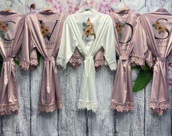 SALE!  Floral Bridesmaid Robes, Sunflower Robe Personalized  Satin Bridal Robe, Succulent Robe, Bridesmaid Gifts, Personalized Wedding Robes