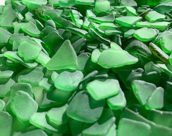 100 Pc Bulk Lot Genuine Sea Glass Frosted Coke Bottle Green Beach Glass