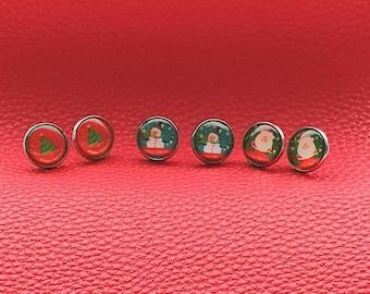 Christmas earrings, Christmas stud earrings, Santa earrings, Snowman earrings, Christmas tree earrings, Festive jewellery, Christmas gift