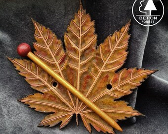 free jute bag Leather Leaf Finnish whitebeam 012 Hair Stick Barrette Hair Pin Clip Stick For Long Hair Stick Slide Carved Eco Forest Wood
