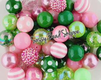 acrylic colorful round gum ball beads in bulk 16mm hot pink stripe print chunky bubblegum beads large beads for baby necklace