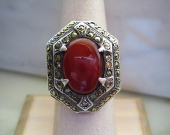 Antique ring with one octagonal carnelian and marcasite set in sterling silver