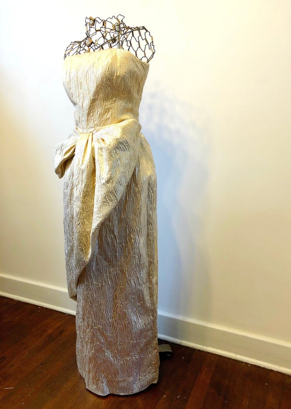 80s Victor Costa Gold Lame Evening Gown