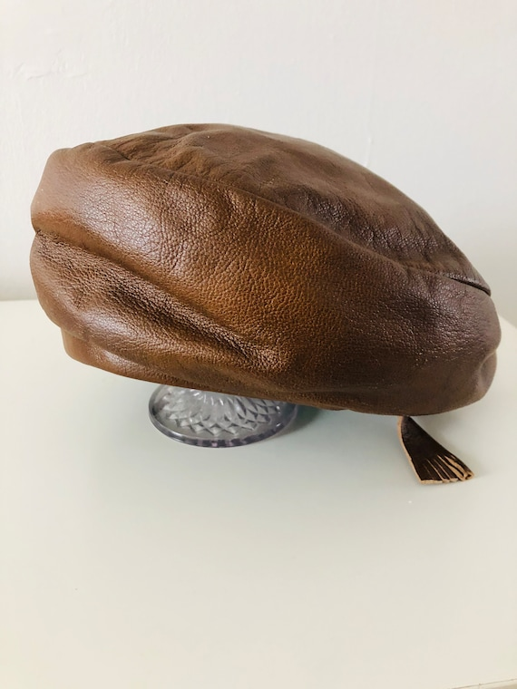 60s Yves Saint Laurent YSL Brown Leather Beret wit