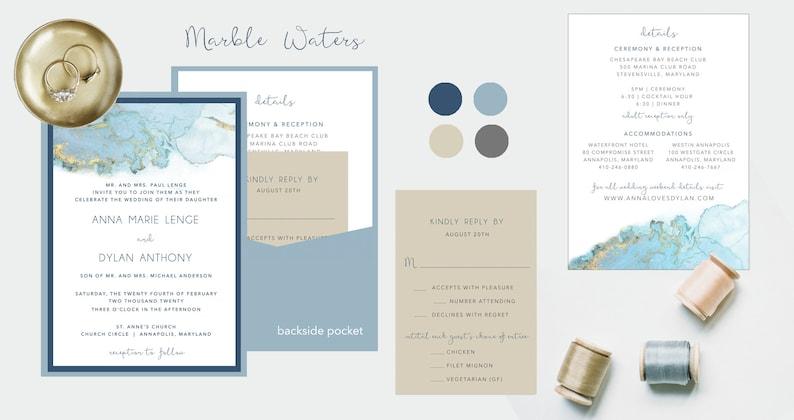 Marble Printed Wedding Invitation Suite  Watercolor Marble image 0