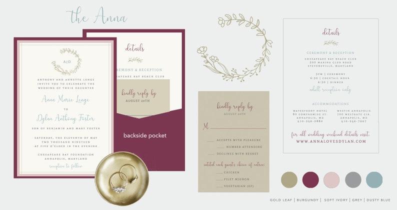 Printed Wedding Invitation Suite  Floral Wedding Invites  image 0