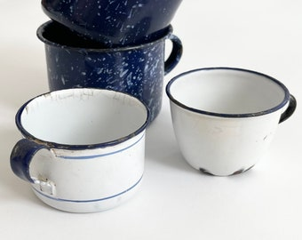 Rustic Enamelware Mugs Coffee Cups Aged Patina White Blue Striped Spatterware Enamel Metal Sweden Farmhouse Camping Shabby Chic Kitchen