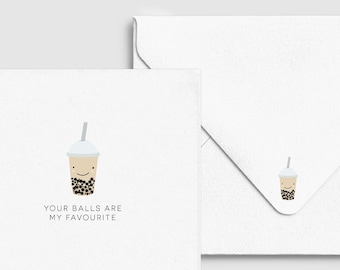 Bubble Tea Boba Fave Balls Card - Asian Punny Funny Greeting, Birthday Love Valentine Heart, Custom Personalized, Food & Drink