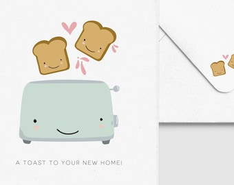 Housewarming Toast Card -  Funny New Home Greeting, Moving House Gift, Custom Personalized, Punny Bread Toaster