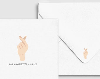 Korean Heart - Love Card - Saranghaeyo, Asian Punny Funny, Custom Personalized Greeting Card, Birthday Celebration Card