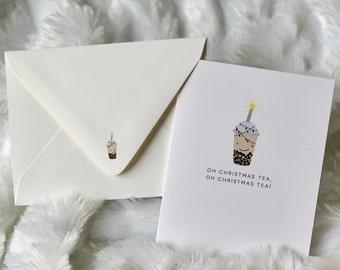 O Christmas Tea, Punny Christmas Cards, Boba Card, Punny Holiday Cards, Christmas Gifts, Blank Note Cards, Bubble Tea Card, Boba card