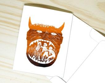"Boca del Infierno ""Hellmouth"" Greeting Card   Custom Foil Stationary   Vintage Mexican Art El Diablo"