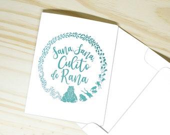 "Sana Sana Colita de Rana ""Get Well Soon"" Card   ""Sana Sana Culito"" Personalized Foil Print   Spanish Mom & Abuela Sayings   Made in US"